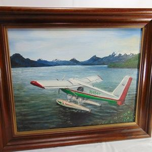 Vtg Framed Oil on Canvas Seaplane Float Plane Art